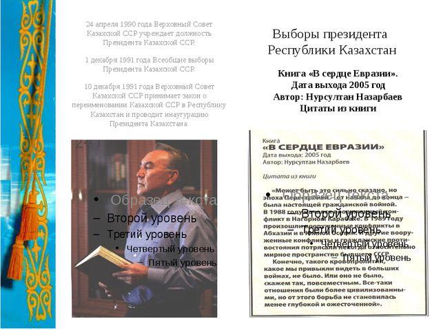 Выборы президента Республики Казахстан 24 апреля 1990 года Верховный Совет Ка...