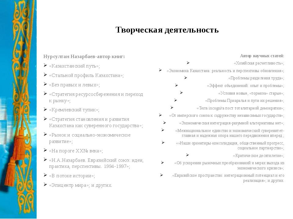 Творческая деятельность Нурсултан Назарбаев-автор книг: «Казахстанский путь»;...