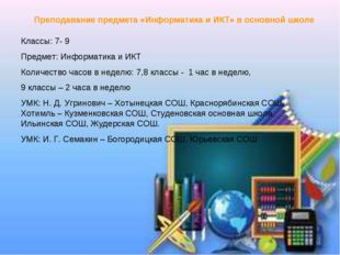 Преподавание предмета «Информатика и ИКТ» в основной школе Классы: 7- 9 Предм