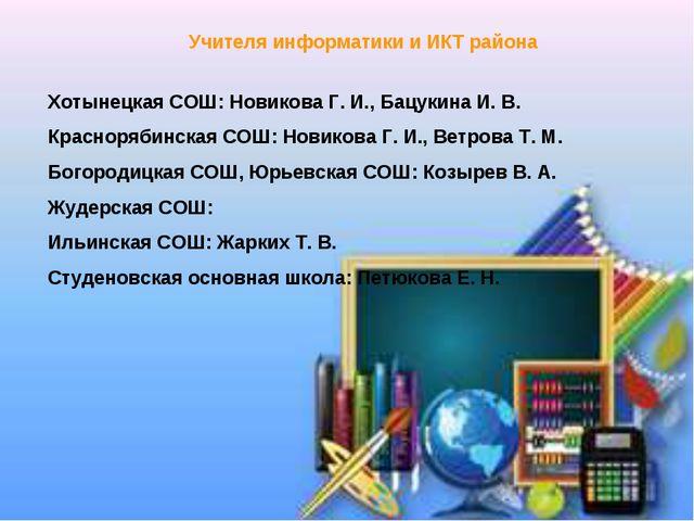 Учителя информатики и ИКТ района Хотынецкая СОШ: Новикова Г. И., Бацукина И....