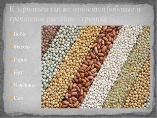 Бобы Фасоль Горох Нут Чечевица Соя К зерновым так же относятся бобовые и греч