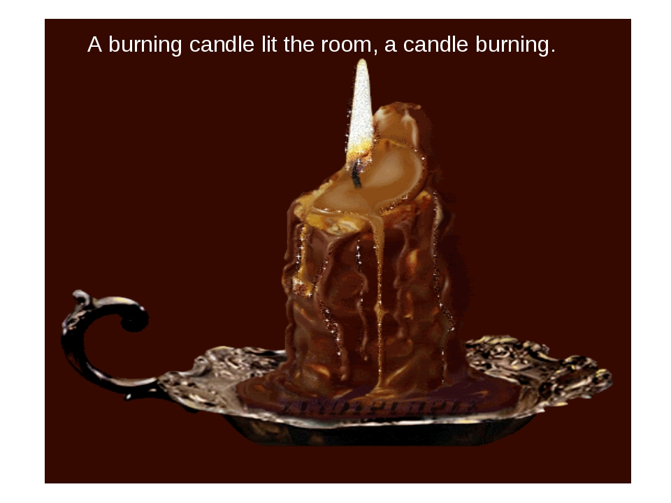 A burning candle lit the room, a candle burning.