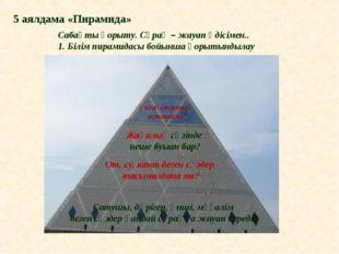 Сабақты қорыту. Сұрақ – жауап әдісімен.. 1. Білім пирамидасы бойынша қорытынд