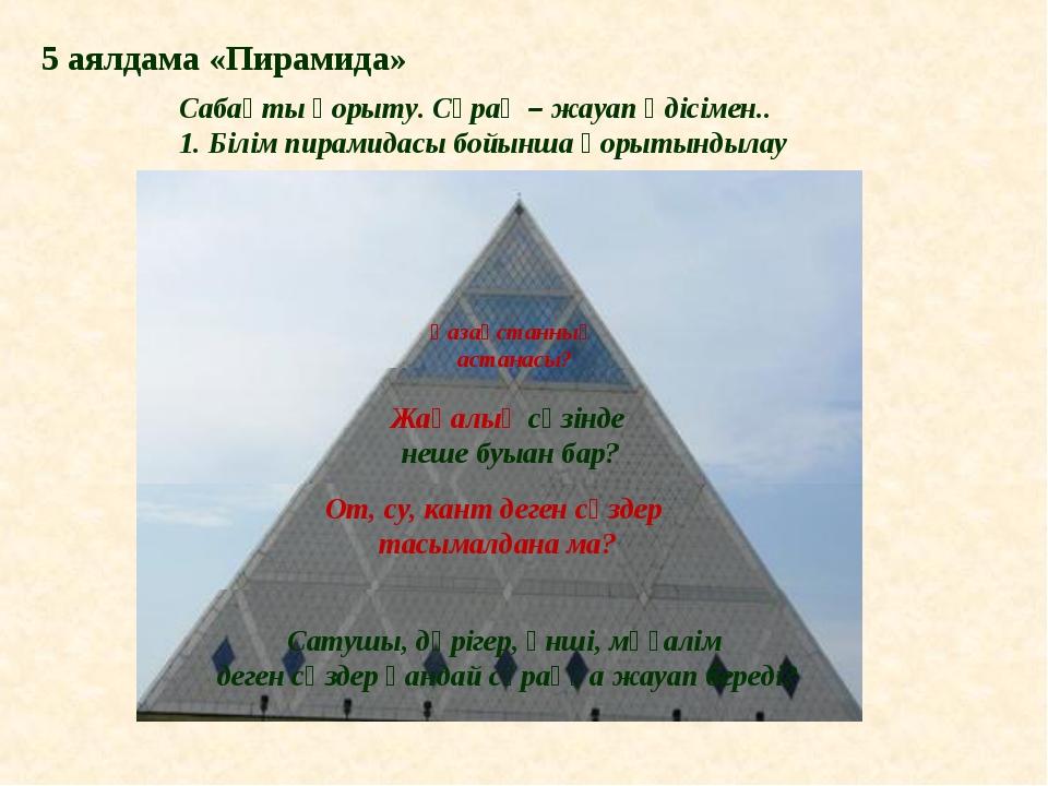 Сабақты қорыту. Сұрақ – жауап әдісімен.. 1. Білім пирамидасы бойынша қорытынд...