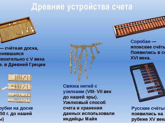 Древние устройства счета Абак—счётная доска, применявшаяся приблизительно с...