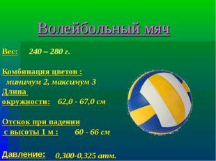 Вес: Комбинация цветов : Длина окружности: Отскок при падении с высоты 1 м :