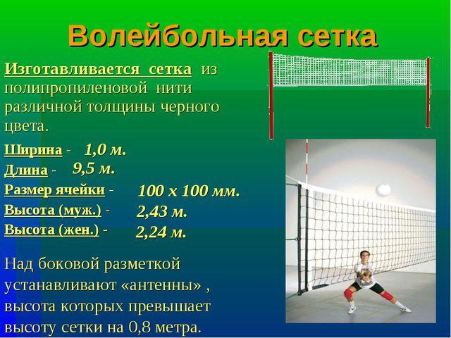 Волейбольная сетка Ширина - Длина - Размер ячейки - Высота (муж.) - Высота (ж...