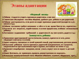 «Медовый месяц» 1.Ребенок старается угодить приемным родителям, а они ему; 2