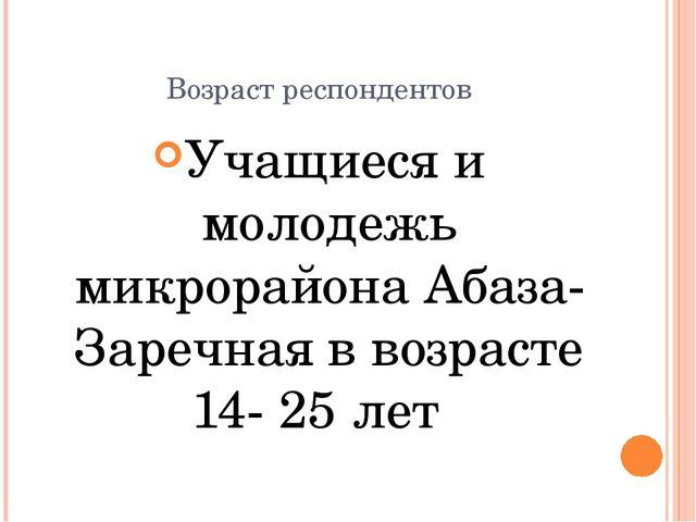 Возраст респондентов Учащиеся и молодежь микрорайона Абаза- Заречная в возрас...