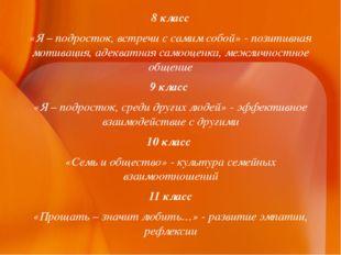 8 класс «Я – подросток, встречи с самим собой» - позитивная мотивация, адеква