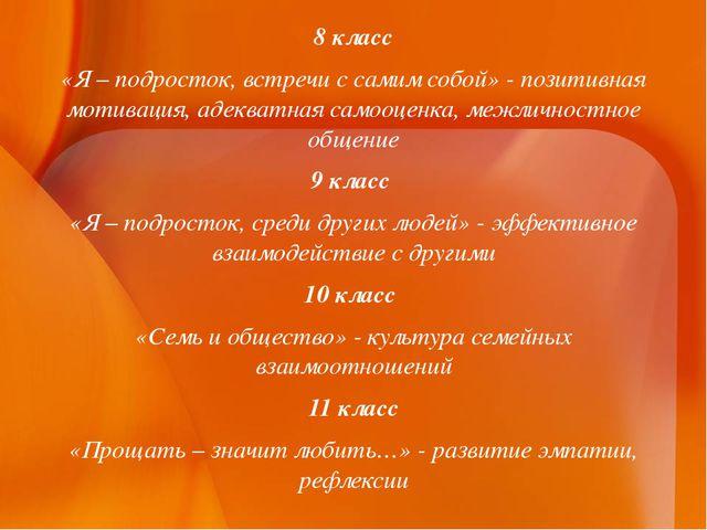 8 класс «Я – подросток, встречи с самим собой» - позитивная мотивация, адеква...