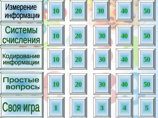 10 20 30 40 50 10 20 30 40 50 10 20 30 40 50 10 20 30 40 50 1 2 3 4 5