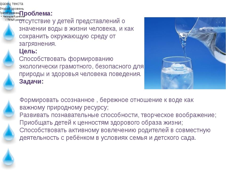 Проблема: отсутствие у детей представлений о значении воды в жизни человека,...