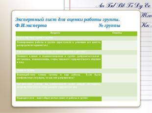 Экспертный лист для оценки работы группы. Ф.И.эксперта № группы Вопросы Ответ