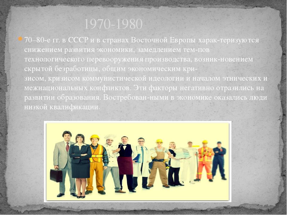 70–80-е гг. в СССР и в странах Восточной Европы характеризуются снижением ра...