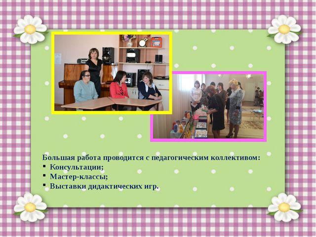 Большая работа проводится с педагогическим коллективом: Консультации; Мастер...