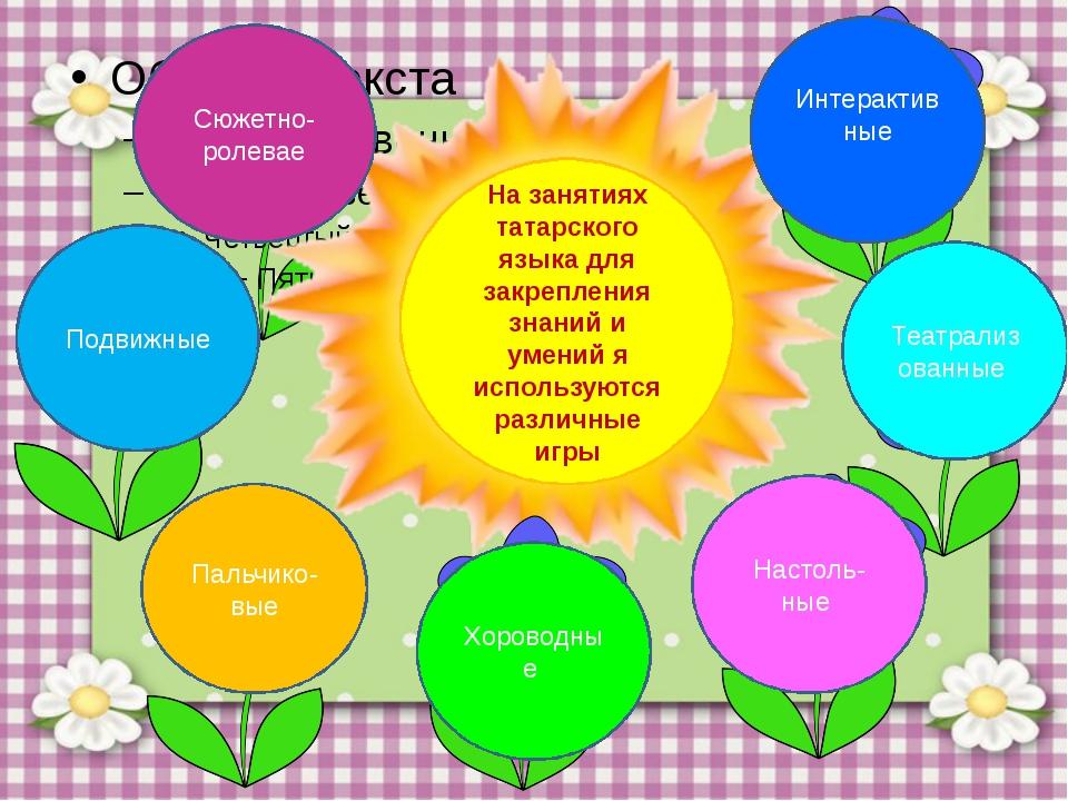 На занятиях татарского языка для закрепления знаний и умений я используются...