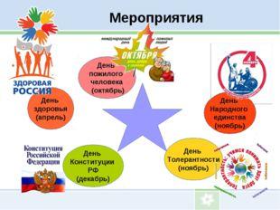 Мероприятия День пожилого человека (октябрь) День Народного единства (ноябрь)