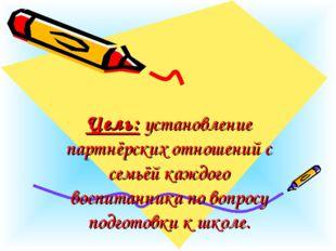 Цель:установление партнёрских отношений с семьёй каждого воспитанника по в