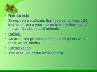 Rainforests Evergreen woodlands that receive at least 100 inches of rain a y
