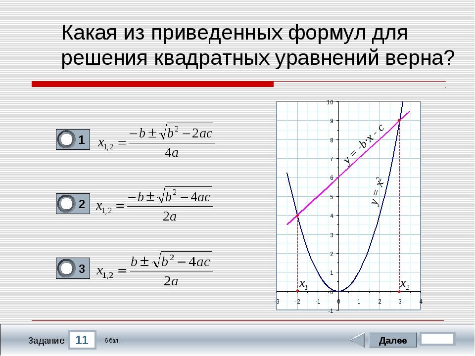 11 Задание Какая из приведенных формул для решения квадратных уравнений верна...