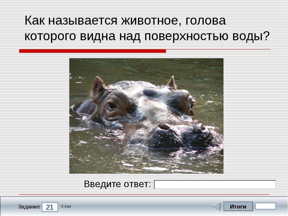 Итоги 21 Задание 3 бал. Введите ответ: Как называется животное, голова которо...