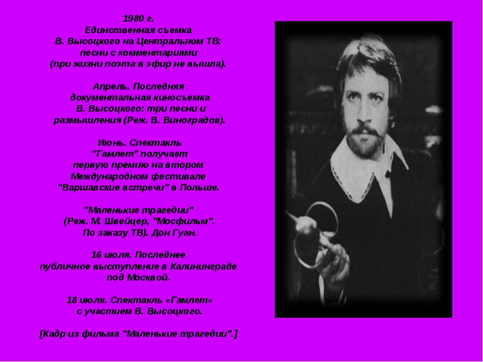 1980 г. Единственная съемка В. Высоцкого на Центральном ТВ: песни с комментар...