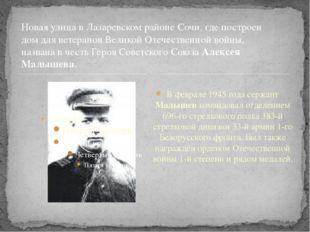 В феврале 1945 года сержант Малышев командовал отделением 696-го стрелкового