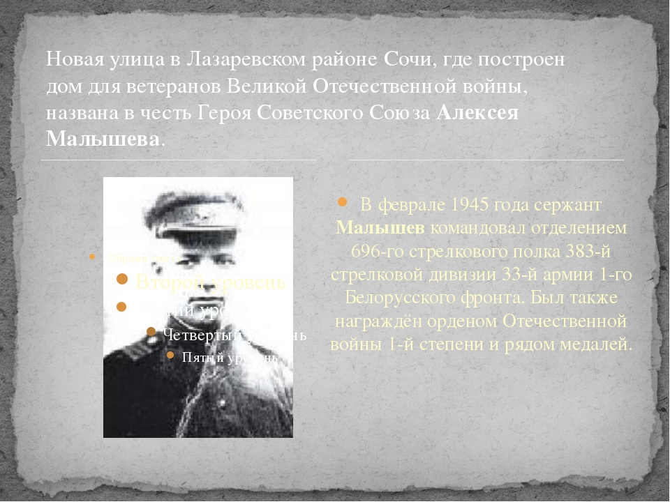 В феврале 1945 года сержант Малышев командовал отделением 696-го стрелкового...