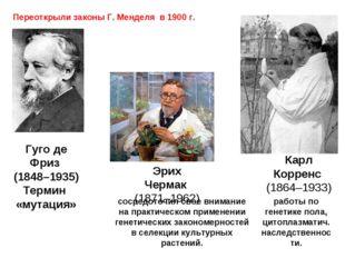 Гуго де Фриз (1848–1935) Термин «мутация» сосредоточил свое внимание на практ