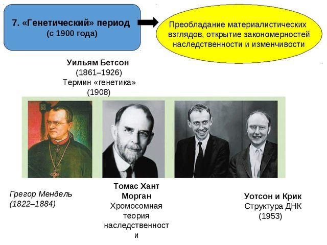 7. «Генетический» период (с 1900 года) Преобладание материалистических взгляд...