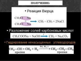 ПОЛУЧЕНИЕ: Реакция Вюрца Разложение солей карбоновых кислот Гидрирование нена