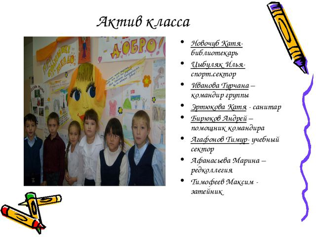 Актив класса Новочуб Катя- библиотекарь Цыбуляк Илья- спорт.сектор Иванова Ту...