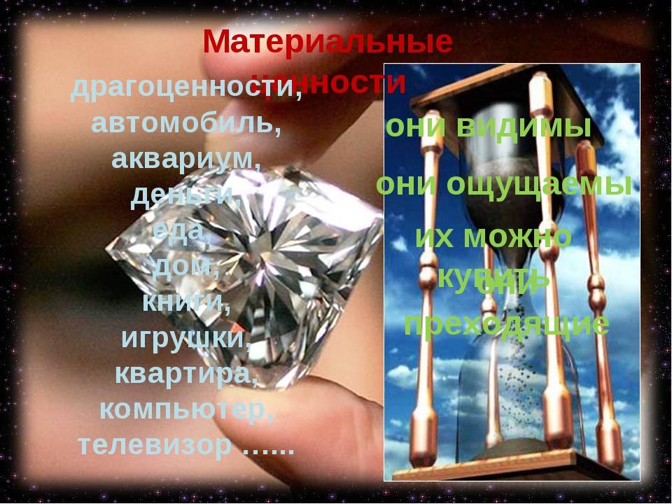 Материальные ценности драгоценности, автомобиль, аквариум, деньги, еда, дом,...