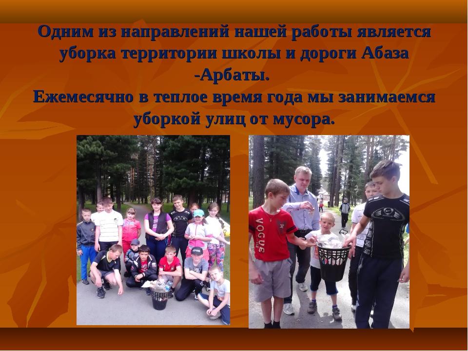Одним из направлений нашей работы является уборка территории школы и дороги А...