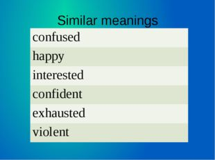 Similar meanings confused happy interested confident exhausted violent