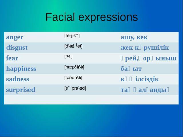 Facial expressions anger [æŋɡə] ашу, кек disgust [dɪsɡʌst] жек көрушілік fear...