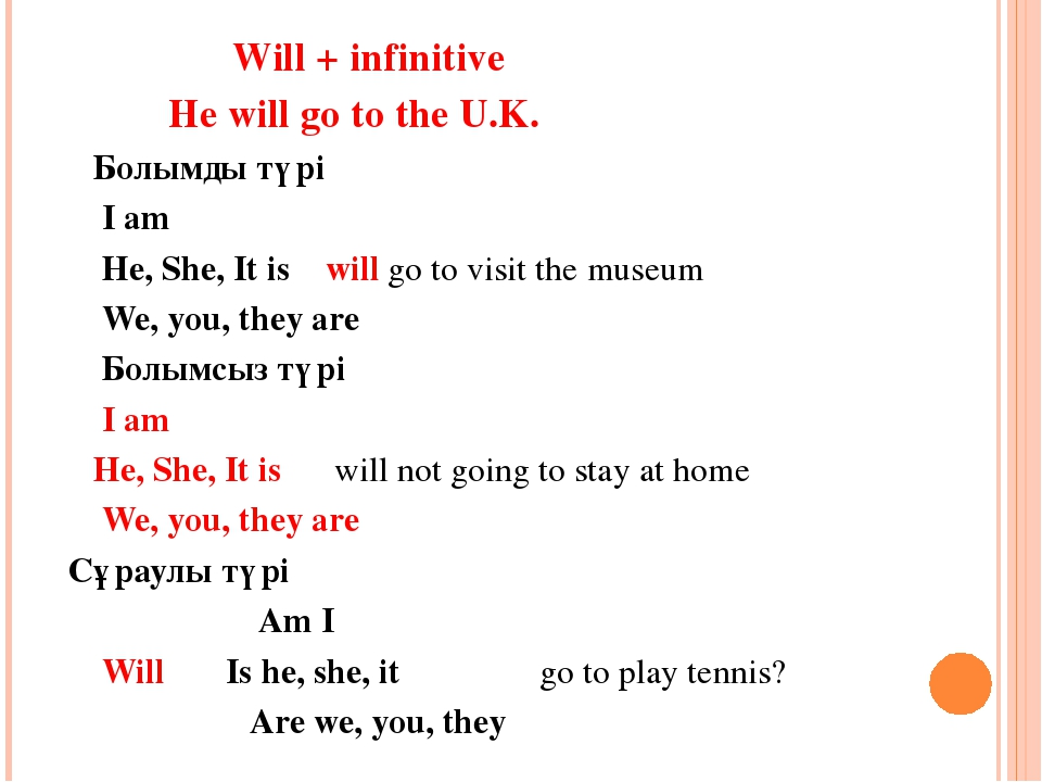Will + infinitive He will go to the U.K. Болымды түрі I am He, She, It is wi...