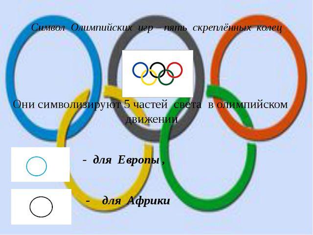 Символ Олимпийских игр – пять скреплённых колец Они символизируют 5 частей св...