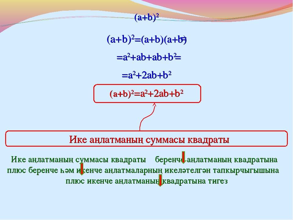 (a+b)2=(a+b)(a+b) = (a+b)2 =a2+ab+ab+b2 = =a2+2ab+b2 (a+b)2=a2+2ab+b2 Ике аңл...