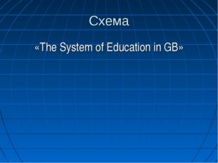 Схема «The System of Education in GB»
