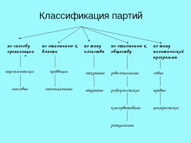 Классификация партий по способу организации по отношению к власти по типу чл...