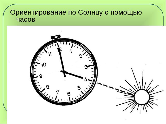 Ориентирование по Солнцу с помощью часов