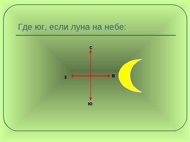 Где юг, если луна на небе: с з ю в