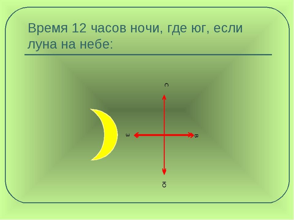 Время 12 часов ночи, где юг, если луна на небе: