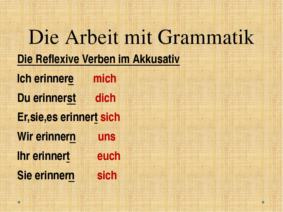 Die Arbeit mit Grammatik Die Reflexive Verben im Akkusativ Ich erinnere mich...