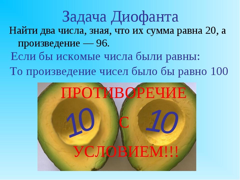 Задача Диофанта Найти два числа, зная, что их сумма равна 20, а произведение...