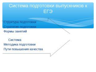 Структура подготовки Стратегия подготовки Формы занятий Система Методика под