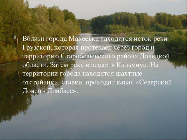 Вблизи города Макеевка находится исток реки Грузской, которая протекает через...