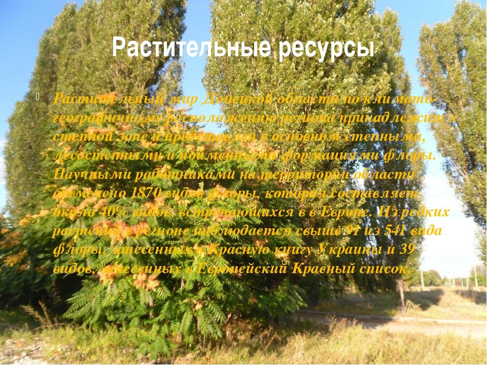 Растительные ресурсы Растительный мир Донецкой области по климато-географично...